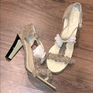 Chanel Floral Suède Heels with Bow